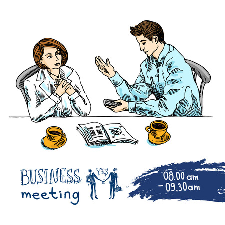 business agreement: Man and woman in the business suit say about business. Sketch vector illustration.