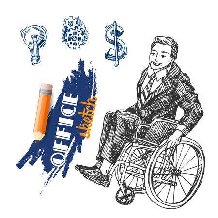 paraplegic: ilustraci�n Esquema de una persona en silla de ruedas