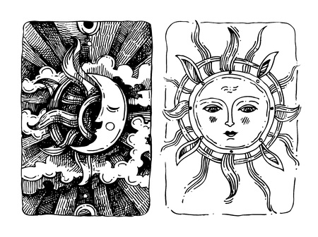 Decorative sun and moon with antropomorphic face hand drawn isolated vector illustration Иллюстрация