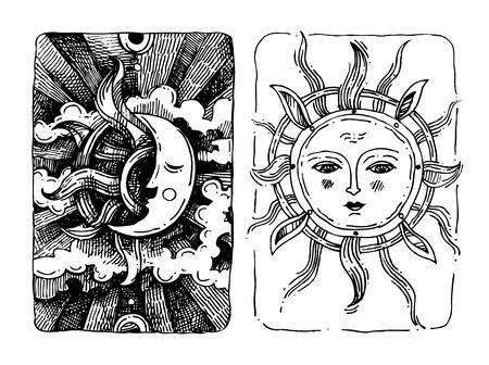sonne mond und sterne: Dekorative Sonne und Mond mit antropomorphen Gesicht Hand gezeichneten isolierten Vektor-Illustration