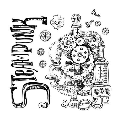 Beautiful hand drawn sketch steampunk mechanism. Time machine. Vektorové ilustrace