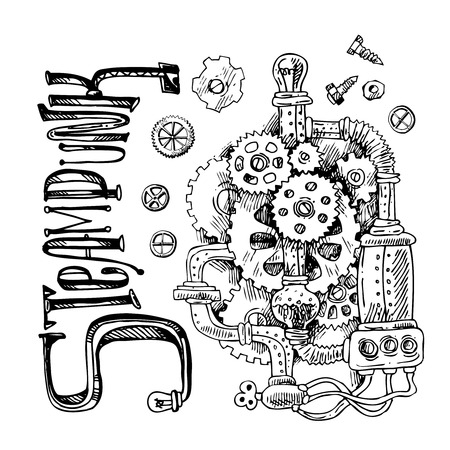 Mooie hand getrokken schets steampunk-mechanisme. Tijdmachine. Vector Illustratie