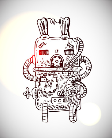 retro robot: freehand sketch illustration of retro robot vector hand drawn