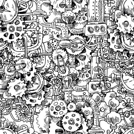 engineering and technology: Beautiful hand drawn vector seamless pattern steampunk.