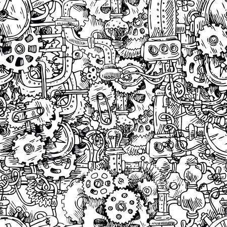 Beautiful hand drawn vector seamless pattern steampunk.
