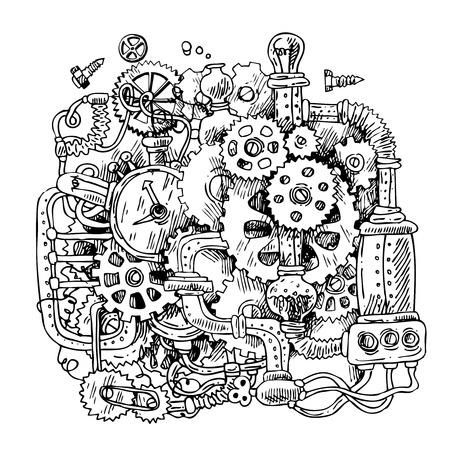 Beautiful hand drawn sketch steampunk mechanism. Time machine.