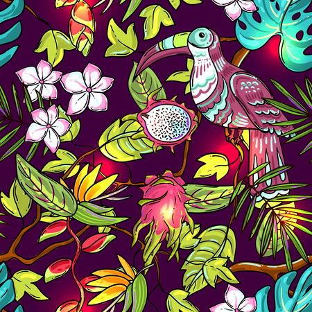 bird of paradise flower: Tropical vector hand drawn illustration for your design