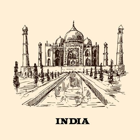 mahal: Taj Mahal sketch vector hand drawn illustration for your design Illustration