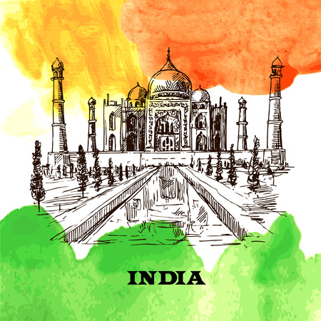 taj: Taj Mahal sketch vector hand drawn illustration for your design Illustration