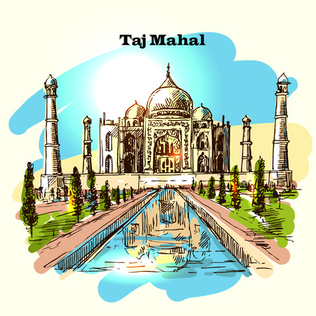 agra: Taj Mahal sketch vector hand drawn illustration for your design Illustration