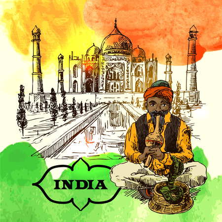snake charmer: Set of vector hand drawn beautiful illustrations India for your design