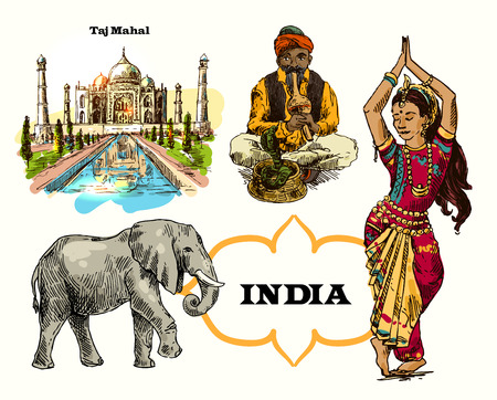 charmer: Set of vector hand drawn beautiful illustrations India for your design