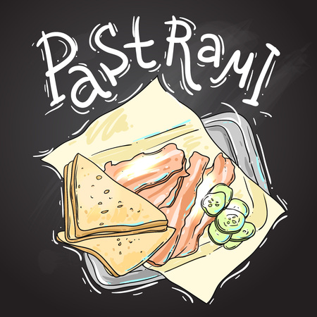 deli meat: Pastrmi vector hand drawn illustration for your design