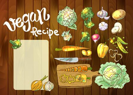 potato salad: Beautiful hand drawn illustration vegetables. Food top view Illustration