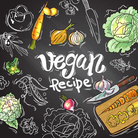 Beautiful hand drawn illustration vegetables. Food top view Ilustração