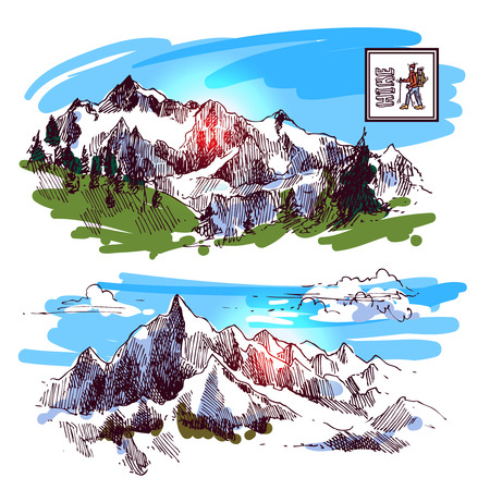 tirol: Mountains sketch, contours of the mountains engraving style, hand drawn vector illustration