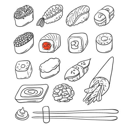 Beautifui ilustración mano vector dibujado comida japonesa. Shushi. Ilustración de vector