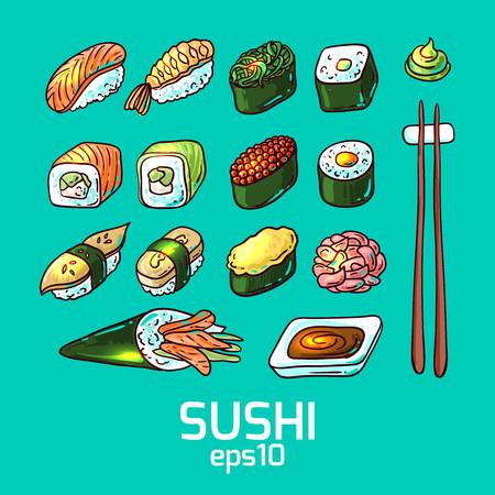 Beautifui hand drawn vector illustration japanese food. Shushi.