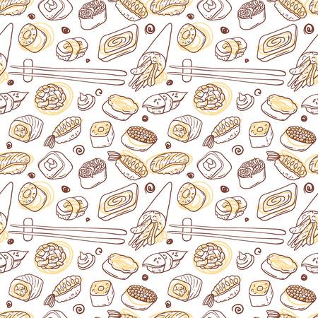 Beautifui mano vector dibujado patrón transparente comida japonesa. Shushi. Ilustración de vector