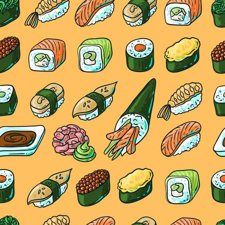 Beautifui mano vector dibujado patrón transparente comida japonesa. Shushi.