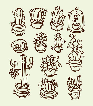Beautiful hand drawn vector illustration cacti and succulents. Doodle style 免版税图像 - 54970883