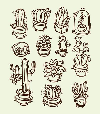 Mooie hand getekend vector illustratie cactussen en vetplanten. Doodle stijl
