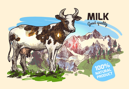 milker: Beautiful hand drawn sketch illustration cow and mountains for your design