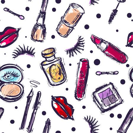 Beautiful hand drawn vector illustration makeup. Fashion illustration. Fashion make up