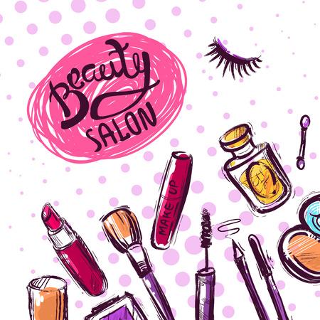 fashion make up: Beautiful hand drawn vector illustration makeup. Fashion illustration. Fashion make up