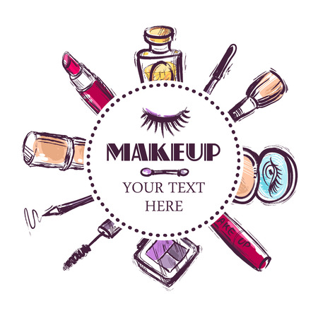 vactor: Beautiful vactor hand drawn illustration beauty salon. Makeup. Illustration