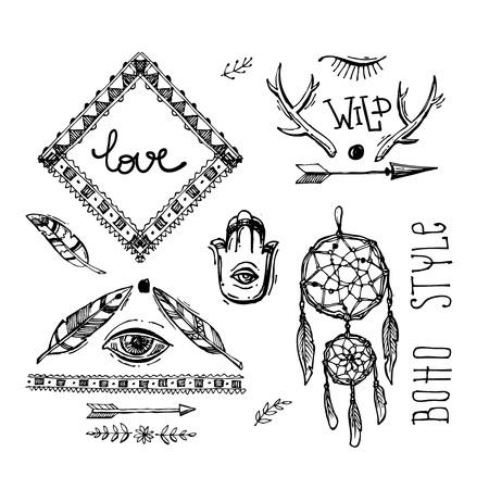 Set of Boho Style  hand drawn elements. Boho vector illustration. Tribal elements for polygraphy of boho wedding. Illustration