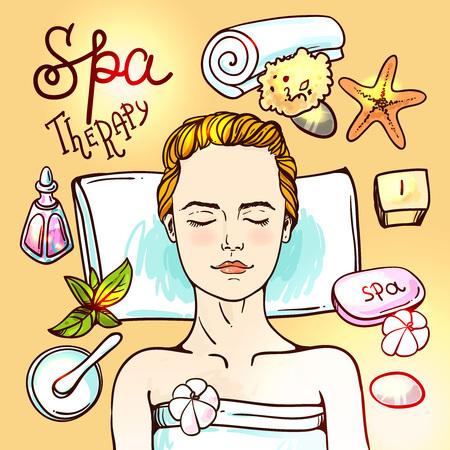 Beautiful hand drawn vector illustration spa salon. Spa woman waiting spa massage her face.