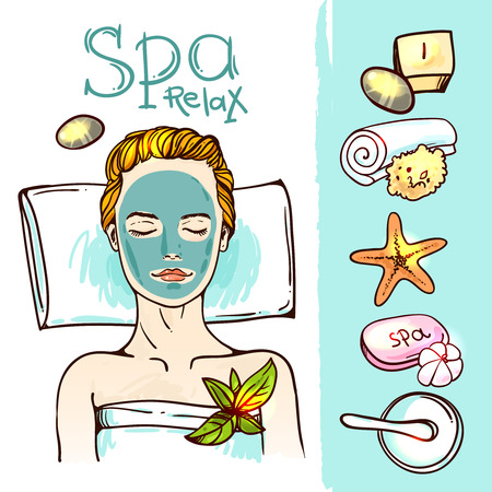 spa salon: Beautiful hand drawn vector illustration spa salon. Spa woman waiting spa massage her face.