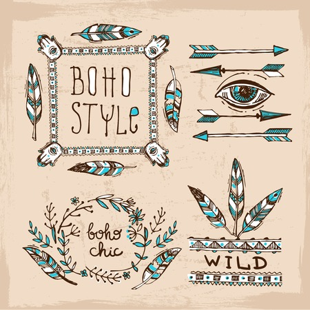 boho: Set of Boho Style  hand drawn elements. Boho vector illustration. Tribal elements for boho wedding.