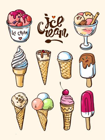 icecream sundae: Beautiful hand vector hand drawn illustration homemade ice cream. Hand drawn icecream. Illustration