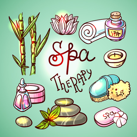 spa therapy: Beautiful hand drawn vector illustration spa for your design. Spa therapy.