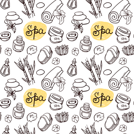 spa therapy: Beautiful hand drawn vector seamless pattern spa for your design. Spa therapy. Illustration