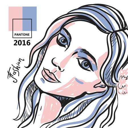 pantone: Beautiful hand drawn sketch vector fashion portrait of girl. Face of fashion girl. Hand drawn fashion illustration. Pantone 2016