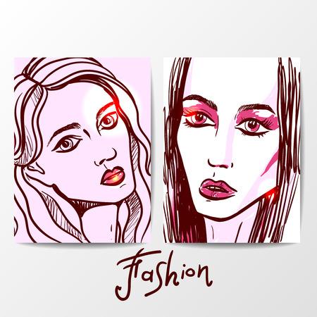 Beautiful hand drawn sketch vector fashion portrait of girl. Face of fashion girl. Hand drawn fashion illustration. Illustration