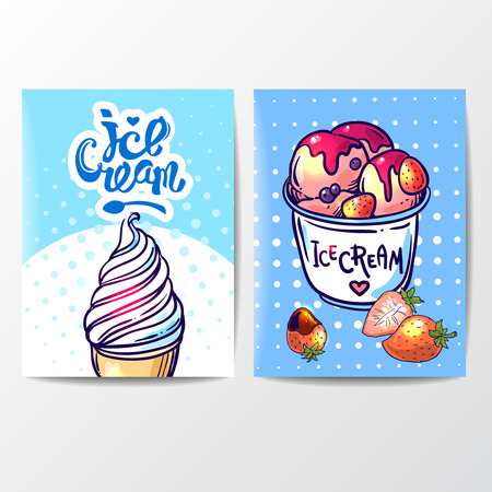 icecream sundae: Beautiful hand drawn vector illustration ice cream. Ice cream banner for your design. Illustration