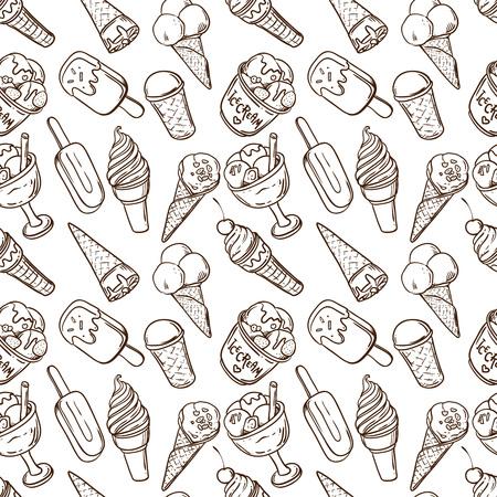 Beautiful hand drawn vector illustration ice cream. Ice cream seamless pattern. Ilustração Vetorial