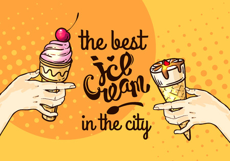 icecream sundae: Beautiful hand drawn vector illustration ice cream. Different ice cream for your design.