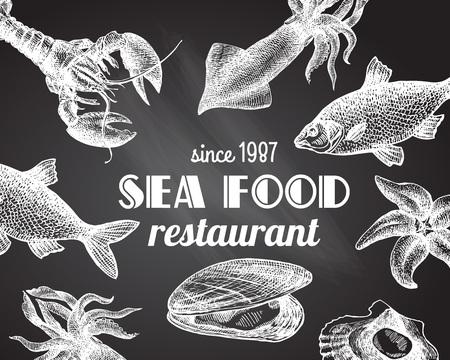 Belle main vecteur illustration tirée par la mer nourriture. Mer style de gravure alimentaire. Menu fruits de mer. Vecteurs