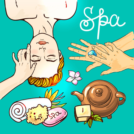 spa salon: Beautiful hand drawn vector illustration spa salon. Spa woman waiting spa massage her face.