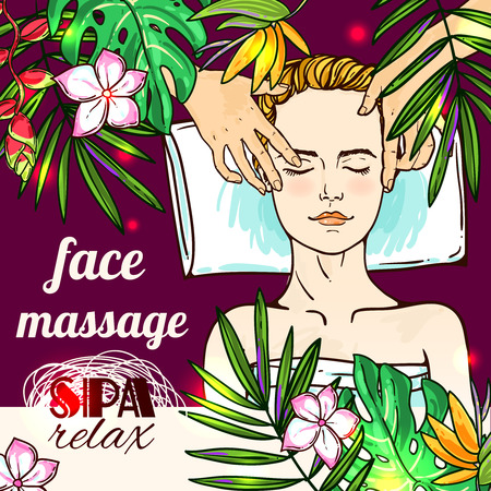 clay mask: Beautiful hand drawn vector illustration spa salon. Spa woman waiting spa massage her face.