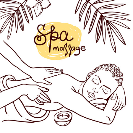 Beautiful vector hand drawn illustration massage. Spa woman gets relax spa massage. Vettoriali