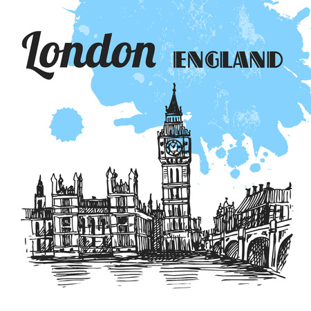 Beautiful hand drawn vector sketch illustration London. Engraving style.
