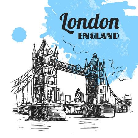 brige: Beautiful hand drawn vector sketch illustration London bridge. Engraving style.