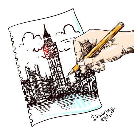 thames: Beautiful hand drawn vector sketch illustration London. Engraving style.