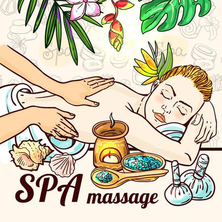 massage: Beautiful vector hand drawn illustration massage. Spa woman gets relax spa massage. Illustration